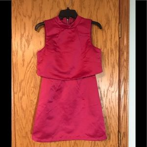 Lavish Alice Pink Satin A-Line Mini Dress